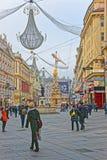 Calle de la columna y de Graben de la trinidad santa en Viena en Austria con Fotografía de archivo
