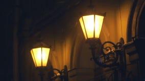 Calle de la nieve ligera de la lámpara de la nieve metrajes