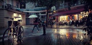 Calle de la noche de Barcelona Fotografía de archivo