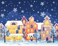 Calle de la noche del invierno stock de ilustración