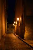 Calle de la noche en Praga Imagen de archivo