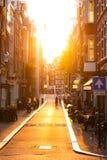 Calle de la puesta del sol Imagen de archivo libre de regalías