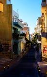 Calle de la tarde en Heraklion la capital de Creta en Grecia Imagenes de archivo