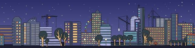 Calle de las casas de la ciudad de la noche en un estilo de la historieta Fotografía de archivo