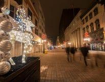 Calle de las chispas en la Navidad Foto de archivo libre de regalías