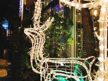 Calle de las decoraciones del día de fiesta para la Navidad en la colonia alemana en Haifa Foto de archivo