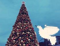 Calle de las decoraciones del día de fiesta para la Navidad en la colonia alemana en Haifa Imagenes de archivo