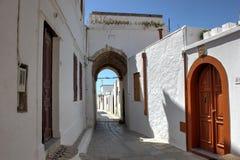 Calle de Lindos Imagen de archivo libre de regalías