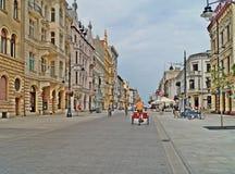 Calle de Lodz, Piotrkowska Foto de archivo