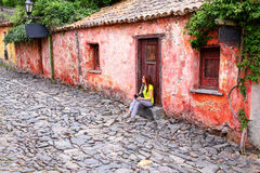 Calle de los Suspiros Street of Sighs in Colonia del Sacrament Stock Photography