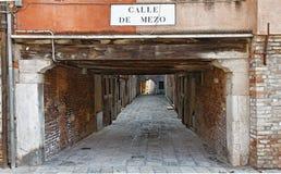 Calle de Mezo. A typic small street passage in Venice,Italy Stock Photos