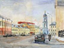 Calle de Moscú. Acuarela. stock de ilustración