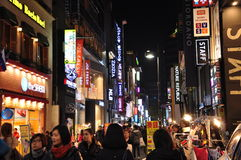 Calle de Myeyongdong, Corea del Sur de Seul Foto de archivo