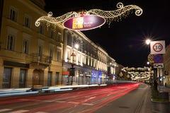 Calle de Nowy Swiat en Varsovia Fotografía de archivo