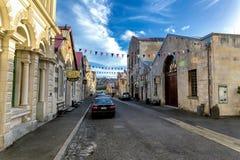 Calle de Oamaru, ciudad hermosa en costa del este de la isla del sur, Nueva Zelanda imagen de archivo