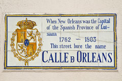 Calle De Orleans Ceramic Sign Stock Images