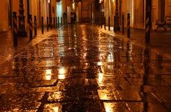 Calle de oro mojada Fotos de archivo libres de regalías