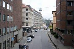 Calle de Oslo, Noruega. Fotografía de archivo