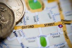 Calle de Oxford Londres, mapa BRITÁNICO foto de archivo libre de regalías