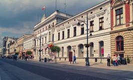 Calle de Piotrkowska, Lodz, Polonia Fotos de archivo libres de regalías