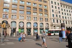 Calle de Placa de Catalunya, Barcelona Fotografía de archivo libre de regalías