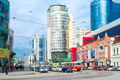 Calle de Radishcheva en el centro de Ekaterimburgo el 5 de abril, 20 Imagen de archivo libre de regalías
