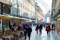 Calle de Rua Augusta, Lisboa Fotos de archivo