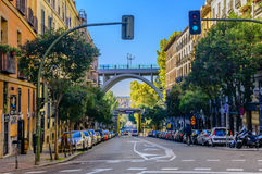 Calle de Segovia with a view of the Puente de Segovia in Madrid Royalty Free Stock Image
