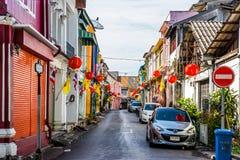 Calle de Soi Rommanee en la ciudad vieja de Phuket Fotos de archivo libres de regalías