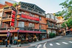 Calle de Tamsui, restaurante y calle viejos del café en Taipei, Taiwán Imagenes de archivo