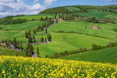 Calle de Toscana, d'Orcia de Val imagen de archivo libre de regalías