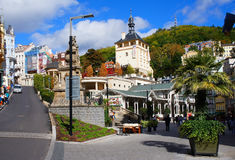 Calle de Trziste de Karlsbad (Karlovy varía) Foto de archivo libre de regalías