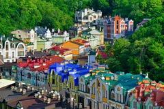 Calle de Vozdvizhenska y de Honcharna en Kiev Imágenes de archivo libres de regalías