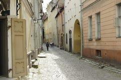 Calle del adoquín - Tallinn - Estonia Imagenes de archivo
