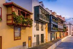 Calle del balcón en Santa-Cruz de La Palma Fotos de archivo