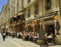 Calle del café, Lyon, Francia Foto de archivo