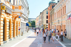 Calle del centro de Banja Luka Foto de archivo