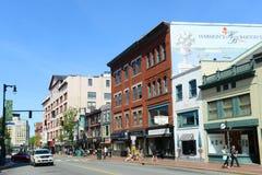 Calle del congreso del distrito de los artes de Portland, Maine, los E.E.U.U. Foto de archivo libre de regalías