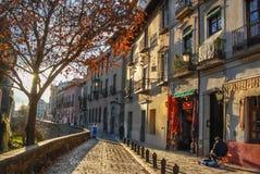 Calle del darro in Granada,Andalucia,Spain stock images