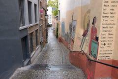 Calle del estrecho de Bruselas Fotos de archivo