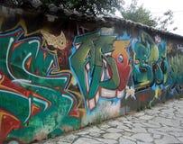 Calle del graffity de la pared que pinta el fondo abstracto Fotografía de archivo libre de regalías