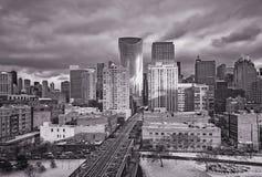 Calle del lago en Chicago Exposición larga, horizonte urbano Illinois, los E imágenes de archivo libres de regalías