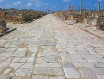Calle del maximus de Decumanus en el Magna de Leptis Imágenes de archivo libres de regalías