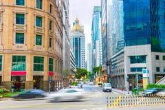 Calle del negocio de Singapur céntrica Imagenes de archivo