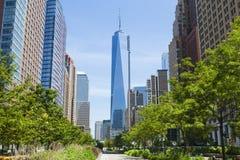 Calle del oeste y World Trade Center, Nueva York Imagen de archivo libre de regalías