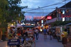 Calle del Pub en Siem Reap Imagenes de archivo