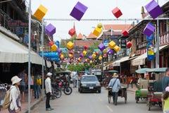 Calle del Pub, Siem Reap, Camboya Fotos de archivo libres de regalías