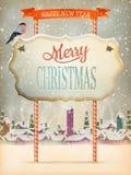 Calle del vintage de la Navidad con el letrero EPS 10 Imagen de archivo