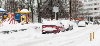 Calle después de nevadas Fotos de archivo libres de regalías