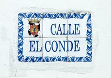 Calle El Conde Street Sign Stock Fotografie